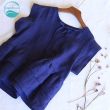 LinenAll women's Clothing Tops & Tees Tanks & Camis solid blue color