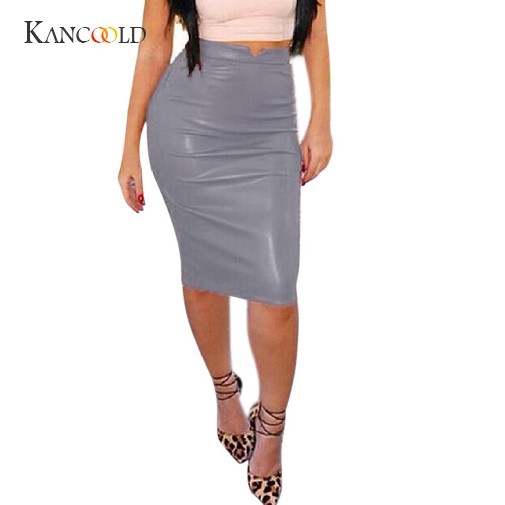 KANCOOLD women's Skirts girl Women sexy Skirts Leather Skirt High Waist Slim Party Pencil Skirt Solid MAR1