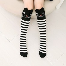 1 Pair Baby Kids Girls Children Cotton Cute Stocking Princess Stripes Tights Cat Pattern Knee High Socking for 3-12T