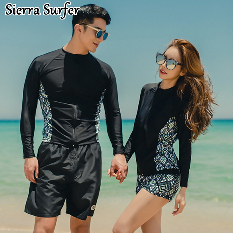 Tankini Swimwear Woman Geometric Sexy Tankini Swimwear Girl With Shorts Piece Long Sleeve Men Zipper Lovers Sports Polyester