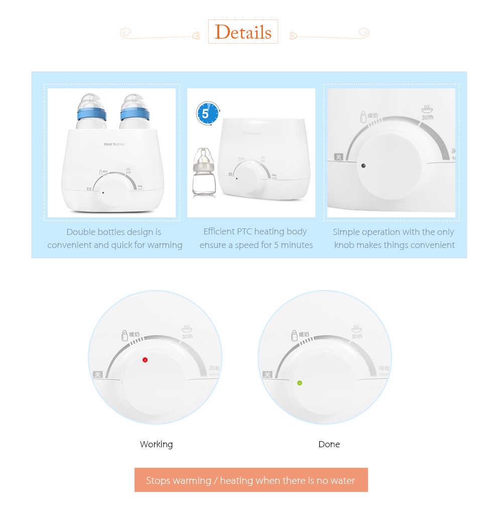 RealBubee bébé biberon chauffe-biberon électrique chauffe-plats pour bébé chaud Double stérilisateur de biberon électrique chauffe-lait alimentation BPA