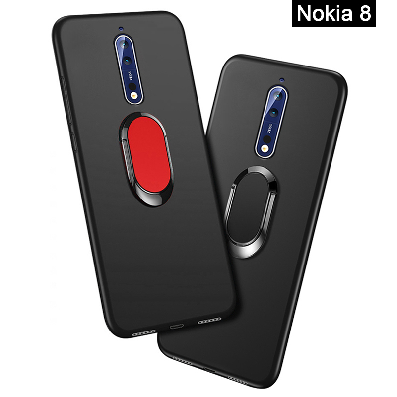 Nokia8 Phone Cover for <font><b>Nokia</b></font> 8 <font><b>TA</b></font>-1012 <font><b>TA</b></font>-<font><b>1004</b></font> Case 5.3 inch Soft Black Silicone Magnetic Car Holder Ring Case for <font><b>Nokia</b></font> 8 Funda image