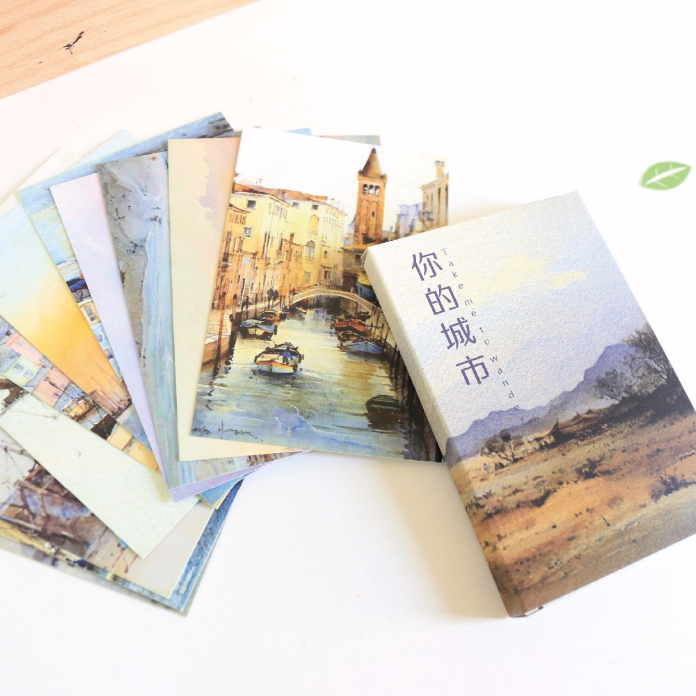 30 Sheets/Set Take Me To Your City Postcard/Greeting Card/Message Card/Birthday Letter Envelope Gift Card