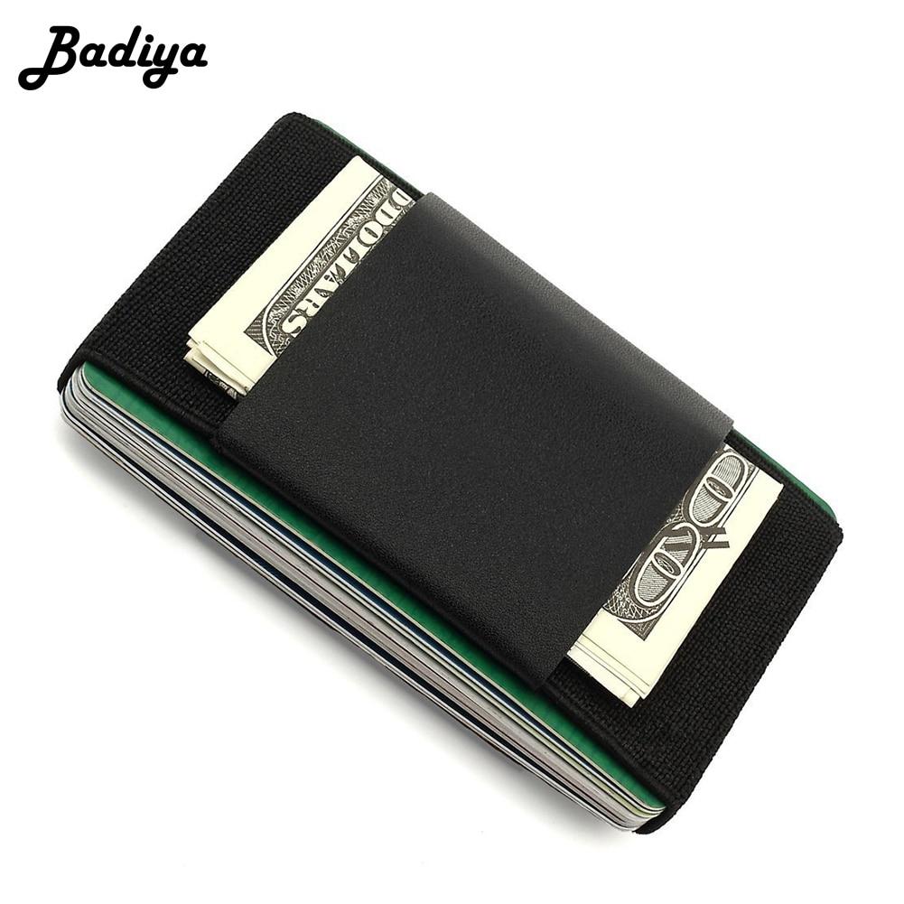 Fashion Men Slim Genuine Leather Card Holder Short Wallet Mini Purse Small Business ID Credit Card Case Elastic Band Carteira