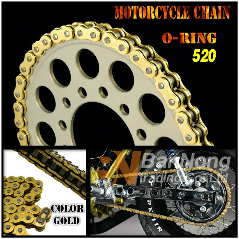 520 Motorcycle universal Gold Drive Chain O-Ring 120 links For ZX-6R 636 Magna250 KLX250 CRF250 AX-1 TTR250 XR250 CRM250 530 120 brand new unibear motorcycle drive chain 530 gold o ring chain 120 links for cagiva ala azzurra 650 drive belts