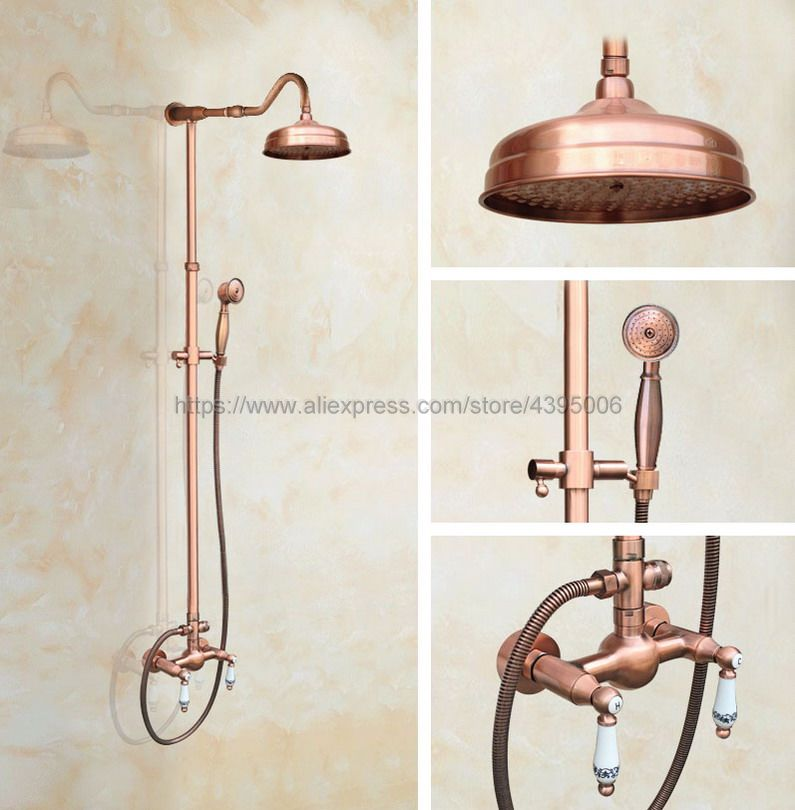 купить Antique Red Copper Wall Mount Shower Set Faucet Double Handle with Handshower Bathroom Shower Mixer Tap Brg620