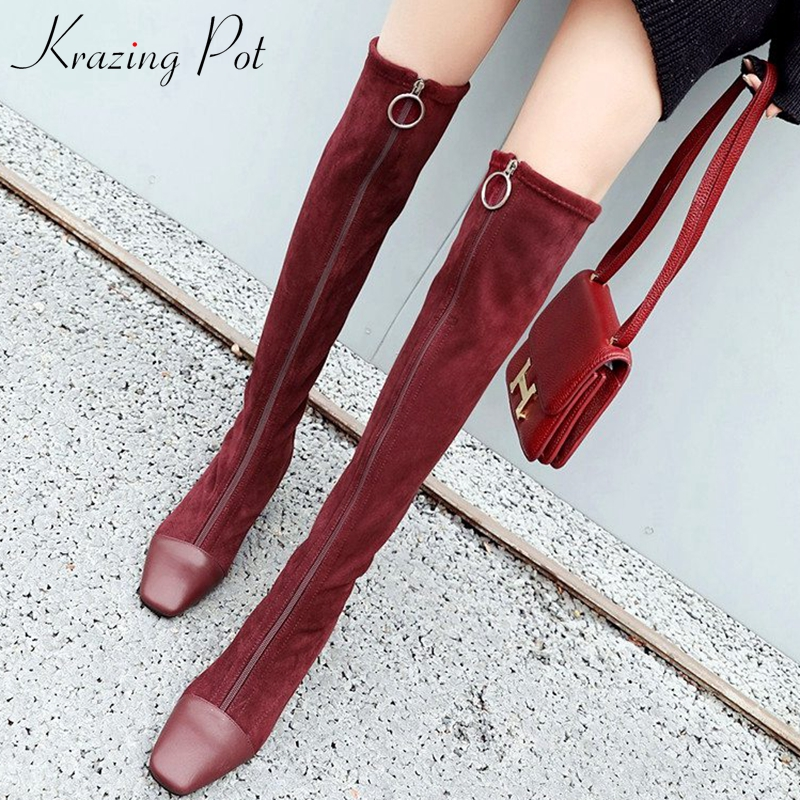 Krazing Pot 2019 Genuine Leather Square Toe Stretch Over-the-knee Boots Thick Heels Superstar Zipper Beauty Thigh High Boots L08