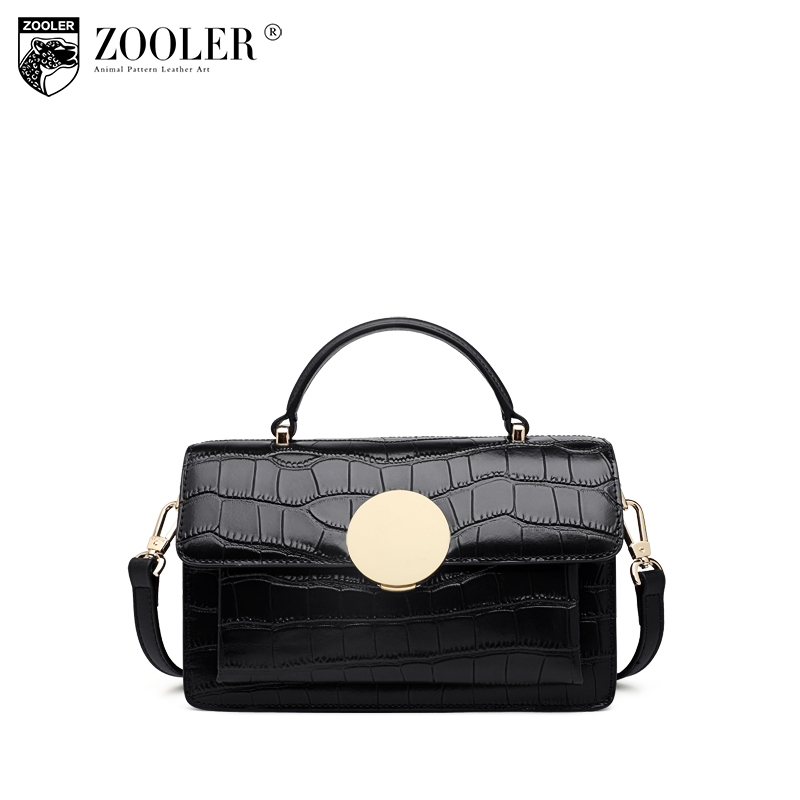 ZOOLER Luxury Handbags Women Bags Designer Fashion Crocodile Pattern Small Genuine Leather Tote Bags For Women Messenger Bag zooler luxury handbags women bags designer ladies genuine leather handbag fashion crocodile boston messenger tote bag sac a main