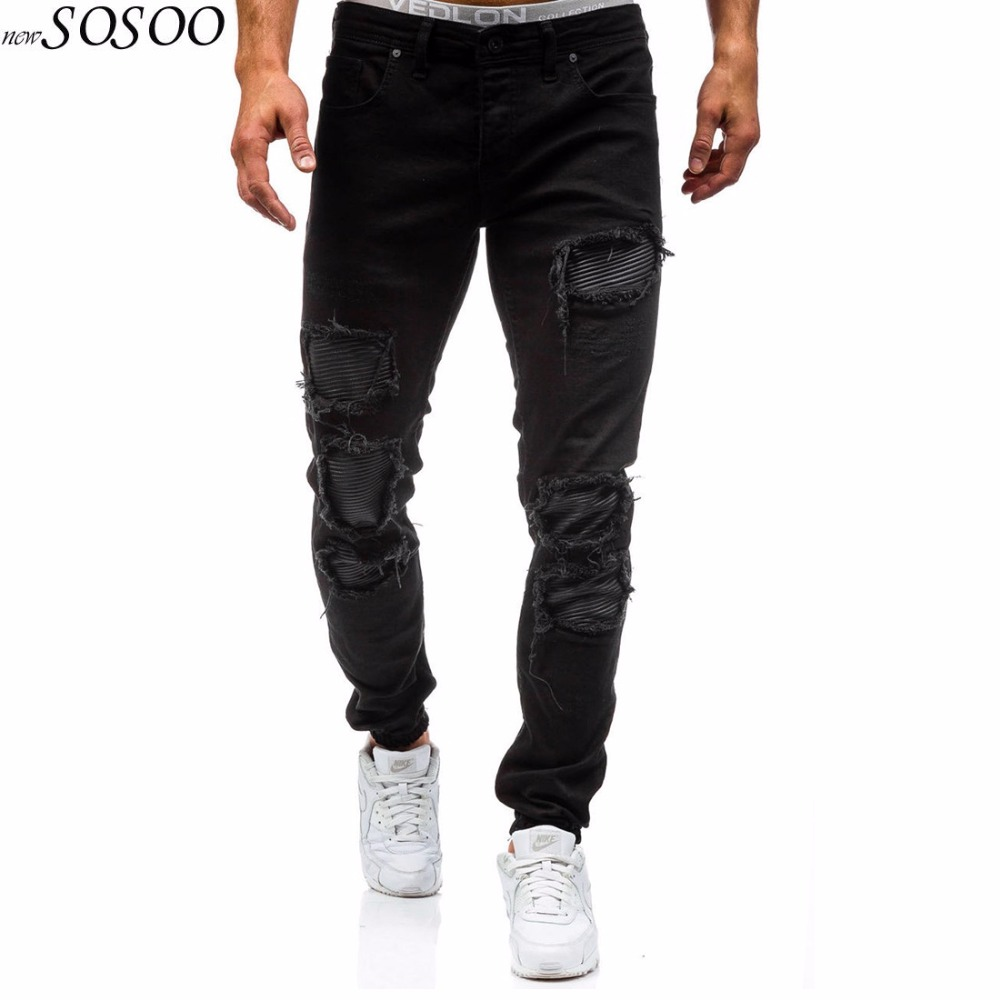 2018 new 100% cotton denim ripped afligido jeans pants creative patches leisure 2 color men jeans