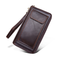 Cowhide Leather Wallet Clutch Bags Men Genuine Leather Money Wallet High Quality Crazy Horse Leather Male Wallet Clutch Money Wa