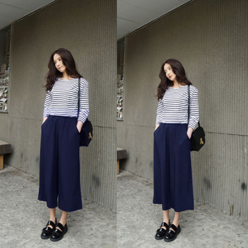 Newly Spring Summer Women Wide Leg Pants With Pocket Chiffon Solid Color High Waist Loose Casual Trouser