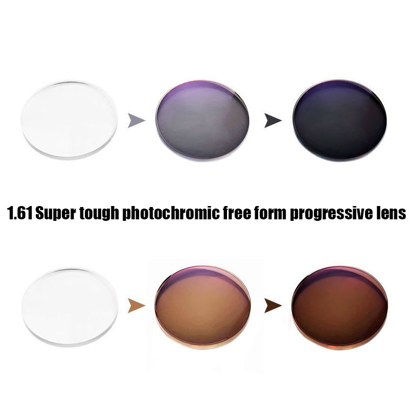 161 super tough photochromic digital free form progressive prescription optical lenses with fast color changing performance