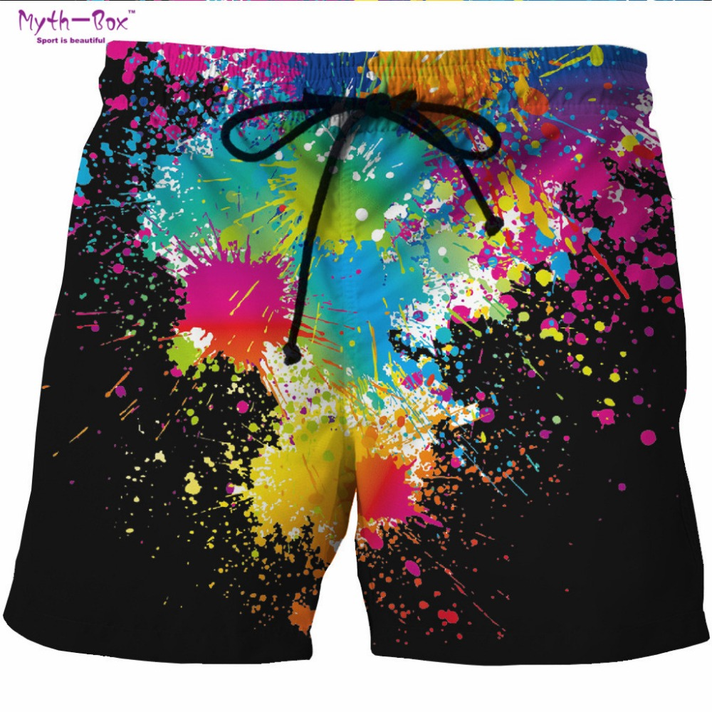 Summer Man's Beach Shorts Water Sport Pant Paint Print Leisure Surfing Board Shorts High Quality Oversized Holiday Surf Swimwear