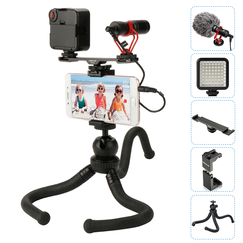 BOYA BY MM1 Microphone With Cold Shoe Extension Video light Octopus Tripod Phone Mount For iPhone