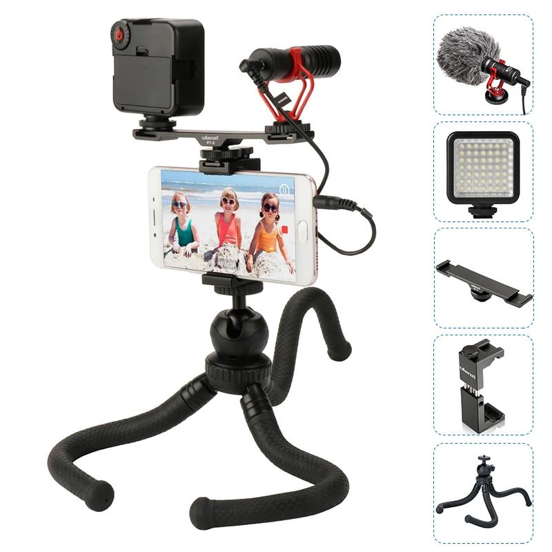 BOYA BY-MM1 Microphone Avec Griffe porte-Extension Vidéo lumière Poulpe Trépied Mont Téléphone Pour iPhone Pour Cinéma Vlogging