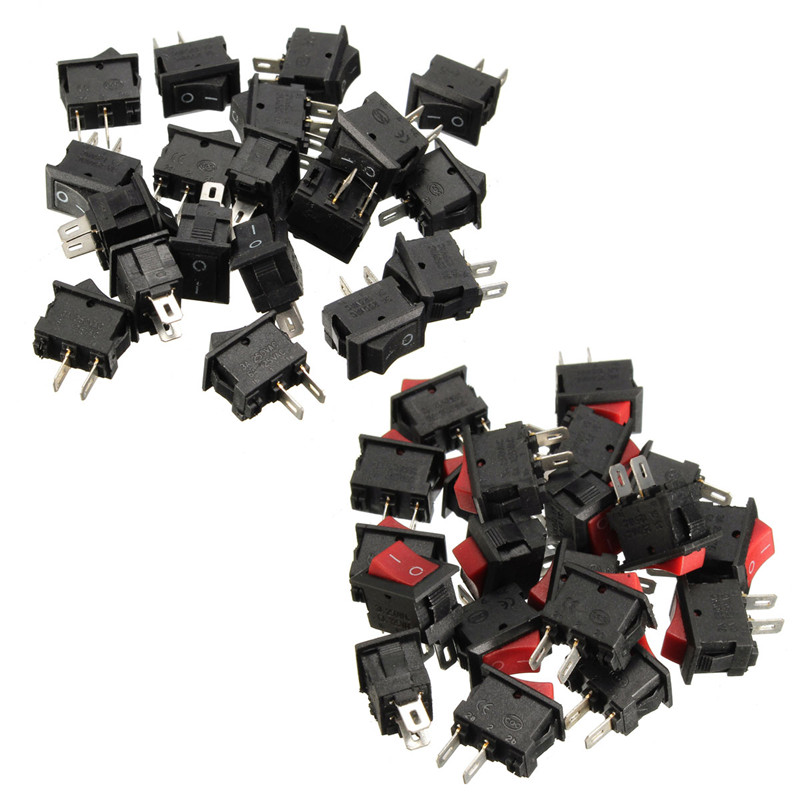20pcs 250V 3A Mini Boat Rocker Switch SPST ON-OFF 2Pin Black Plastic Button Applied to Controlling Household Appliance Favorable 10pcs lot red 10 15mm spst 2pin on off g125 boat rocker switch 3a 250v car dash dashboard truck rv atv home