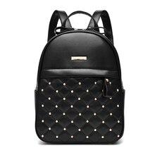 Женщины кожа школьные сумки для подростков девочек мода женский заклепки опрятный стиль waterpoof небольшие рюкзаки
