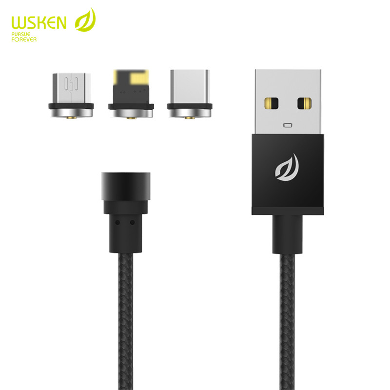 WSKEN Round Magnetic Cable Micro USB Type C Charging