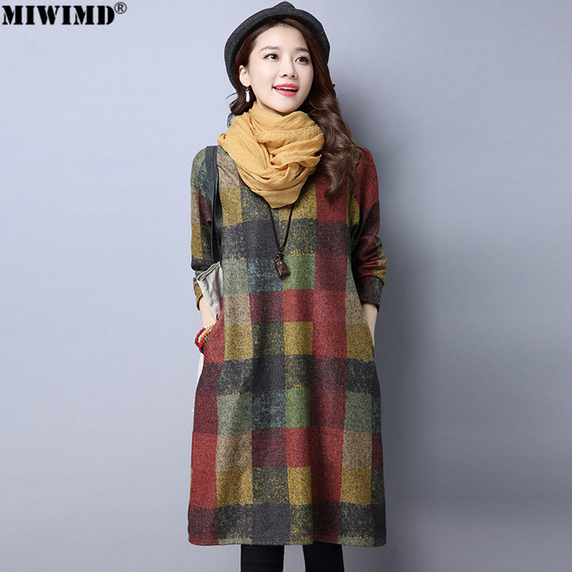 a80081d95256 MIWIMD 2018 New Fashion Women Autumn Winter Vintage Loose Plaid Print  Thicken Long Sleeves Casual Cotton Linen Dresses Big Size