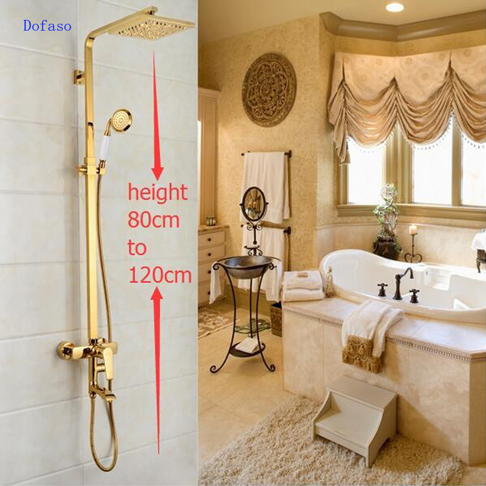 Dofaso Brass square Rainfall golden Shower Tub Faucet Set Antique Wall Mounted Bathroom gold Shower Faucet vintage shower set dofaso creative design brass rainfall grohe shower faucet with handshower wall mounted golden tub faucet shower mixer tap