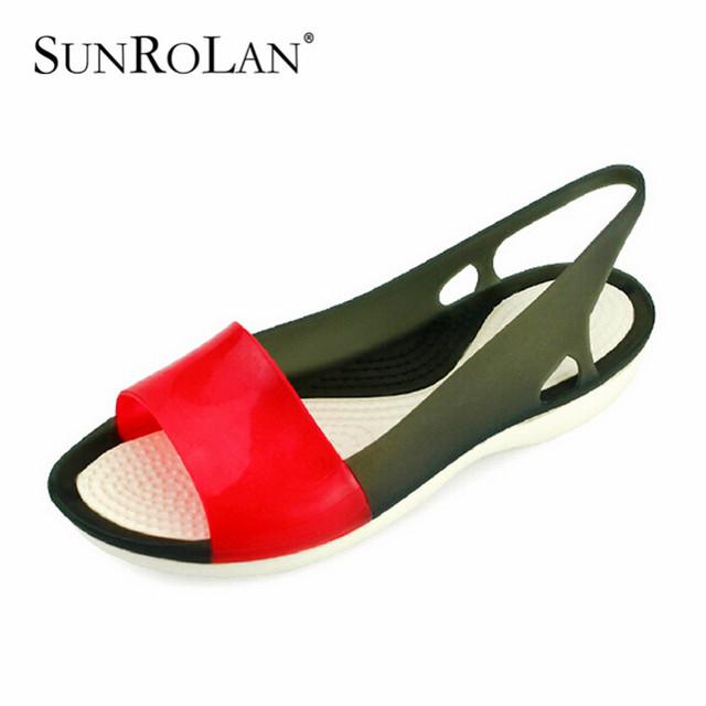 Sunrolan mulheres praia do dedo do pé aberto sapatos femininos buraco sandálias da geléia plana mulas sandália colorida cor misturada mulher sapatas do verão 2503