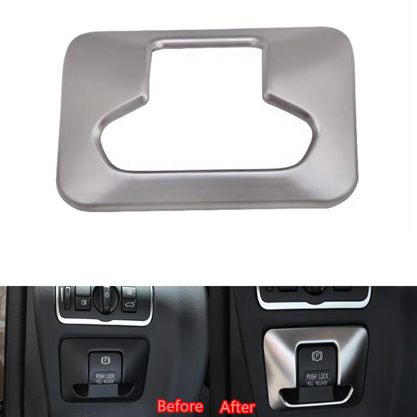 Car Styling Interior Electronic Handbrake Hand Brake Button Switch Cover Trim Sticker For Volvo XC60 XC70 V60 S60 S80 2009-2015 car styling abs headlight switch button sequins dedicated interior chrome trim cover for subaru outback 2015 trim decoration