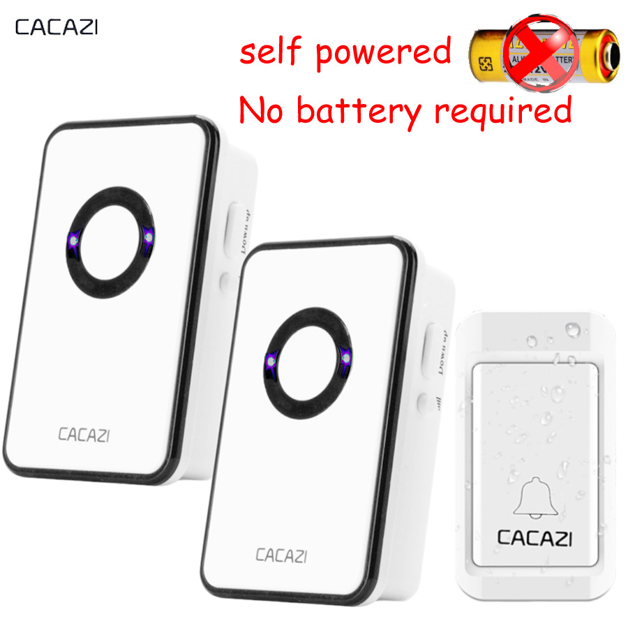 CACAZI NEW No battery self powered Wireless DoorBell Waterproof Door Bell AC 120M Remote EU US plug 3 Volume Home Door Bell kinetic cordless smart home doorbell 2 button and 1 chime battery free button waterproof eu us uk wireless door bell