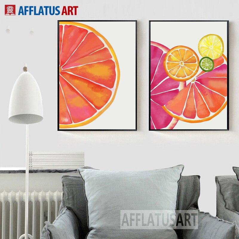 Nette Aquarell Obst Orange Wand Kunst Leinwand Malerei Nordic Poster ...