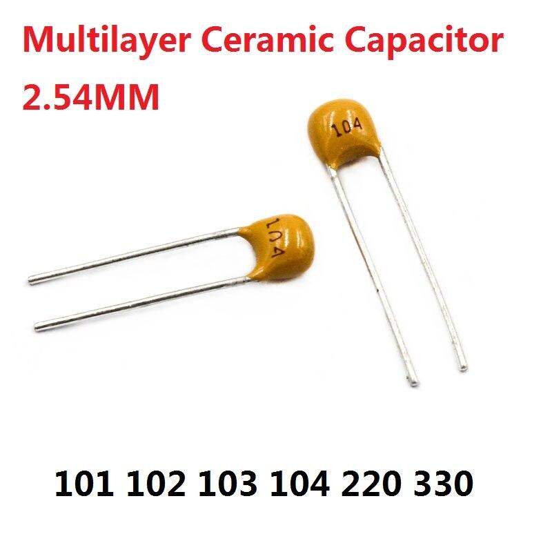 50PC Capacitor Monolítico 101 102 103 104 105 220 330 V 100PF 50 1NF 22 10NF 0.1 UF/33 P 100nf momo/NF 22PF 33PF 2.54 milímetros Multicamadas