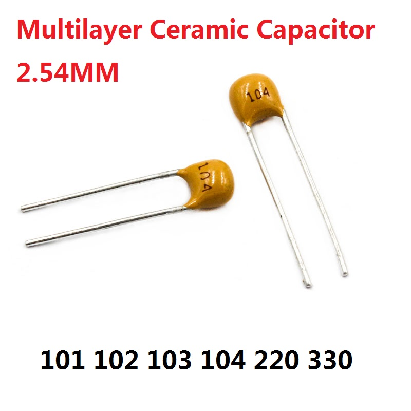 50PC Monolithic <font><b>Capacitor</b></font> 101 102 103 <font><b>104</b></font> 105 220 330 50V 100PF 1NF 10NF <font><b>0.1UF</b></font> 22/33P 100nf momo /NF 22PF 33PF 2.54mm Multilayer image