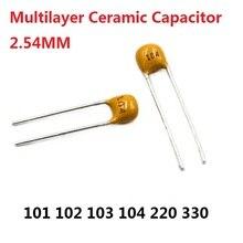 Capacitor monolítico 50 peças, 101 102 103 104 105 220 330 50v 100pf 1nf 10nd 0.1uf 22/33p 100dll momo/nfc 22pf 33pf 2.54mm multicamada