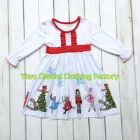 Christmas Baby Girl Classic Dress Nutcracker Dress White High Quality Cotton Kids Dress