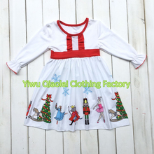 Christmas baby girl classic dress nutcracker dress white high quality cotton kids dress