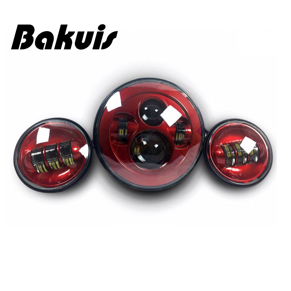 Bakuis Harley moto 7 Round H4 LED HeadlIights With 4-1/2 Passing Lamps 4.5 Led Fog Light For Harley Davidson (Red )Bakuis Harley moto 7 Round H4 LED HeadlIights With 4-1/2 Passing Lamps 4.5 Led Fog Light For Harley Davidson (Red )