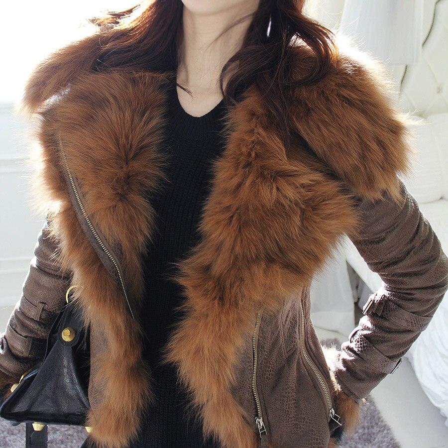 2019 New Women Winter Jacket Luxury Fox Fur Hooded Motorcycle PU Leather Jackets Short Outerwear Slim Streetwear Coat D256
