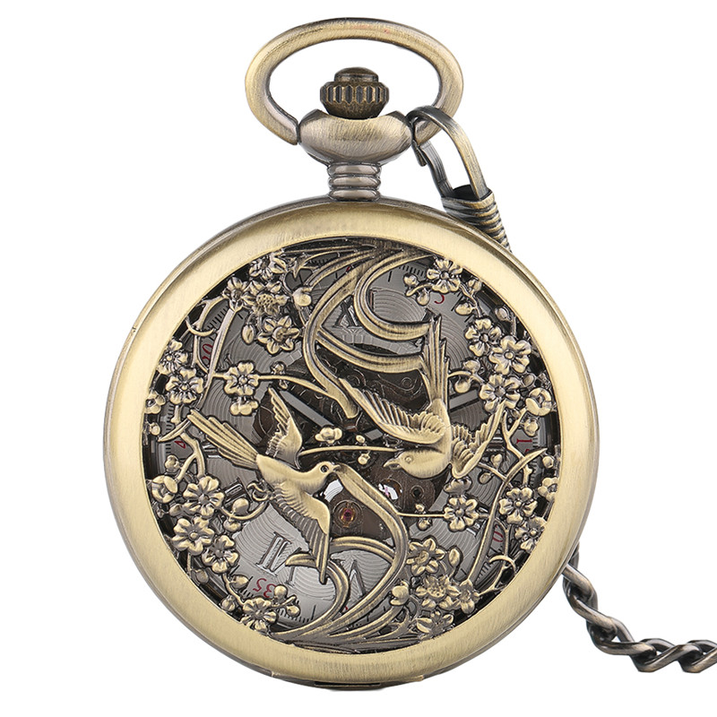 Carving Gift Pendant Automatic  Cool Fashion Luxury Mechanical Stylish Copper Pocket Watch Retro Skeleton Vintage Magpie Bronze