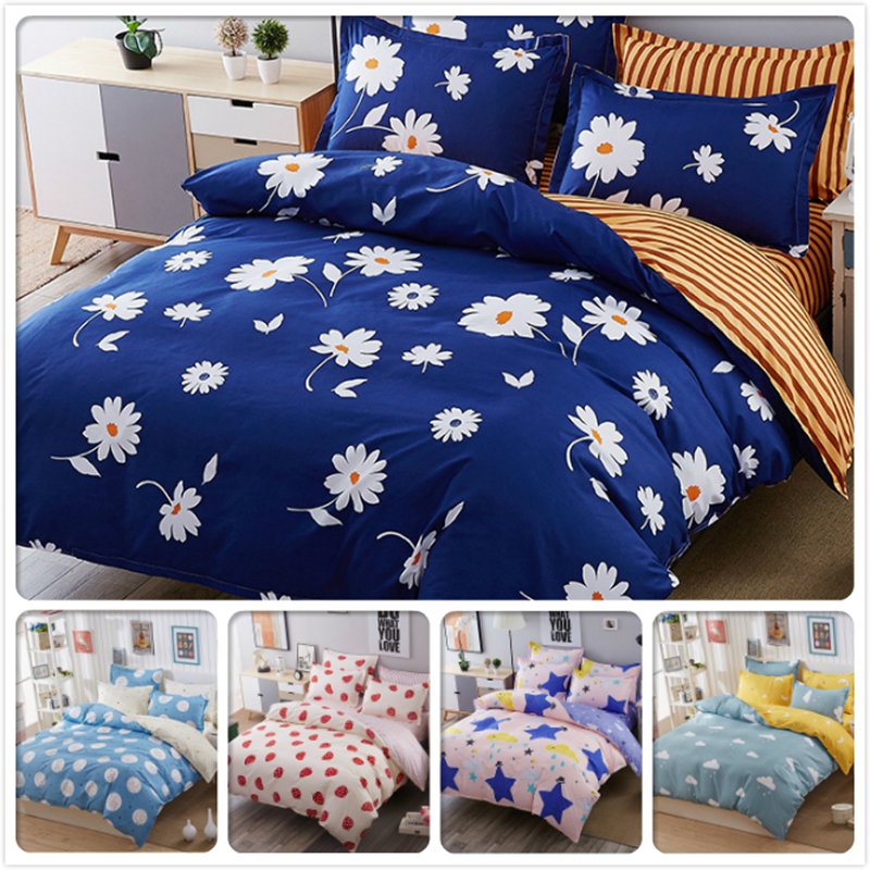 Floral Blue Purple Stripe AB Side Duvet Cover 3/4 pcs Bedding Set Couple Double Size Kids Single Bed Linens Full King Queen Twin