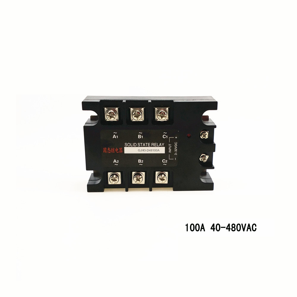 Three-phase solid state relays 100A 480vac high-power normally-open non-contact switch GJH3-D48100A beroun hs650 10kw three phase 380v single phase 220v power remote control thermostat temperature control switch