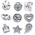 Christmas Family Love Angle Petites Locket Charm Fit Pandora Bracelet Necklace & Pendants Sterling-Silver-Jewelry DIY Wholesale