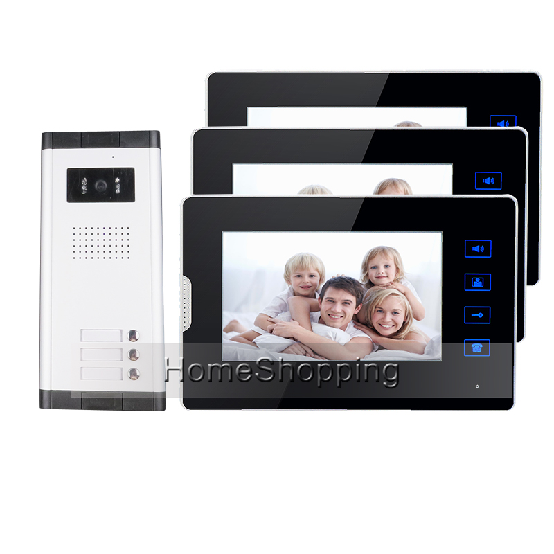 Apartment New 7 Video Door Phone Intercom Entry System With 3 Monitors + 1 Doorbell Camera for 3 House Family FREE SHIPPING new apartment doorbell intercom 7 lcd touch key video door phone intercom system 1camera 10 monitors for 10 house free shipping