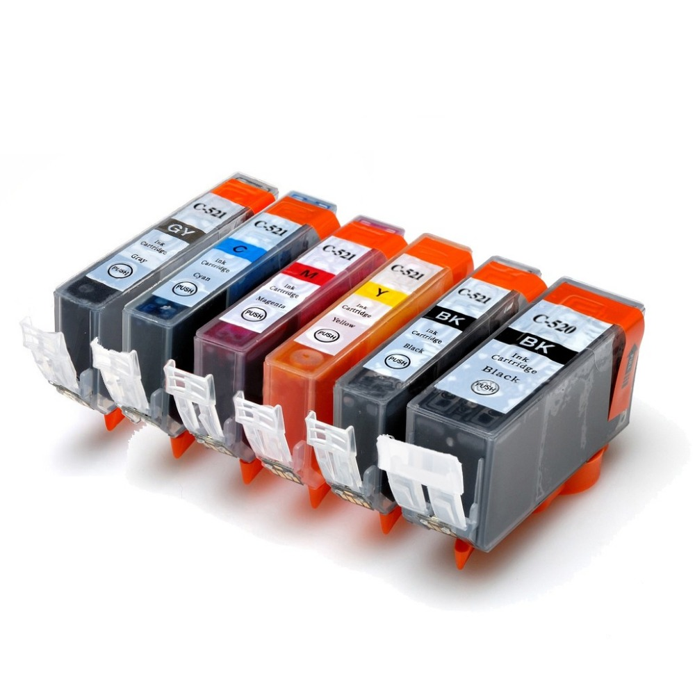 6PCS Full ink Cartridge PGI-520 CLI-521 for <font><b>Canon</b></font> <font><b>Pixma</b></font> <font><b>iP3600</b></font> ip4600 ip4700 MP560 MP620 MP640 MP640R MP980 with chip image