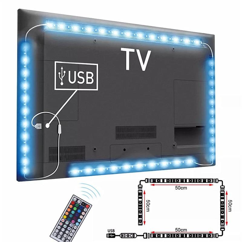 TV Backlight USB 5V Power 4 x 50cm / 2 x 50cm 2 x 100cm RGB Flexible LED Strip light 2m 3m White / Black PCB Background LED Tape