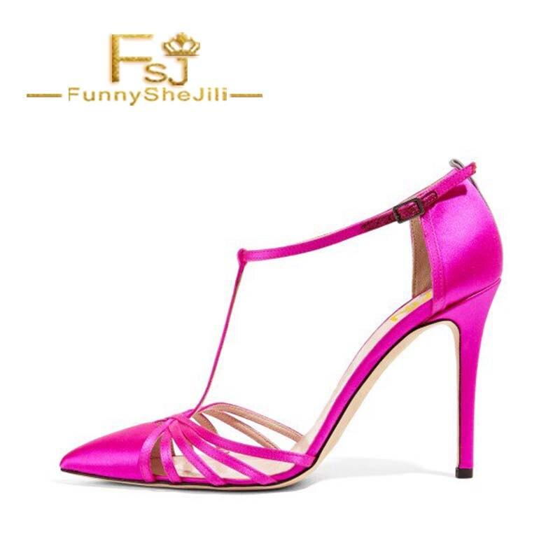 Mode Généreux Rose Incomparable Noble Stiletto Sangle T Toe Sandales Fsj01 Fsj D'été Élégant Fermé Satin Attrayant Chaude Talons OqUfS
