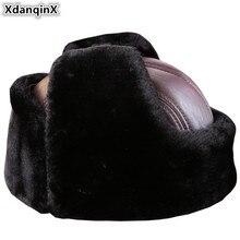 XdanqinX, новинка, очень толстая теплая зимняя мужская шапка из натуральной кожи, шапки-бомберы, плюс бархат, Воловья кожа, меховая шапка с наушниками для папы, пожилых мужчин