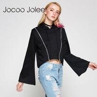 Jocoo Jolee Thiết Kế Màu Đen Ngắn Hoodies Đường Phố mặc Phụ Nữ Mùa Thu Dài Đuốc Sleeves O-Cổ Chui Với Hat Dây Kéo Đôi Blous