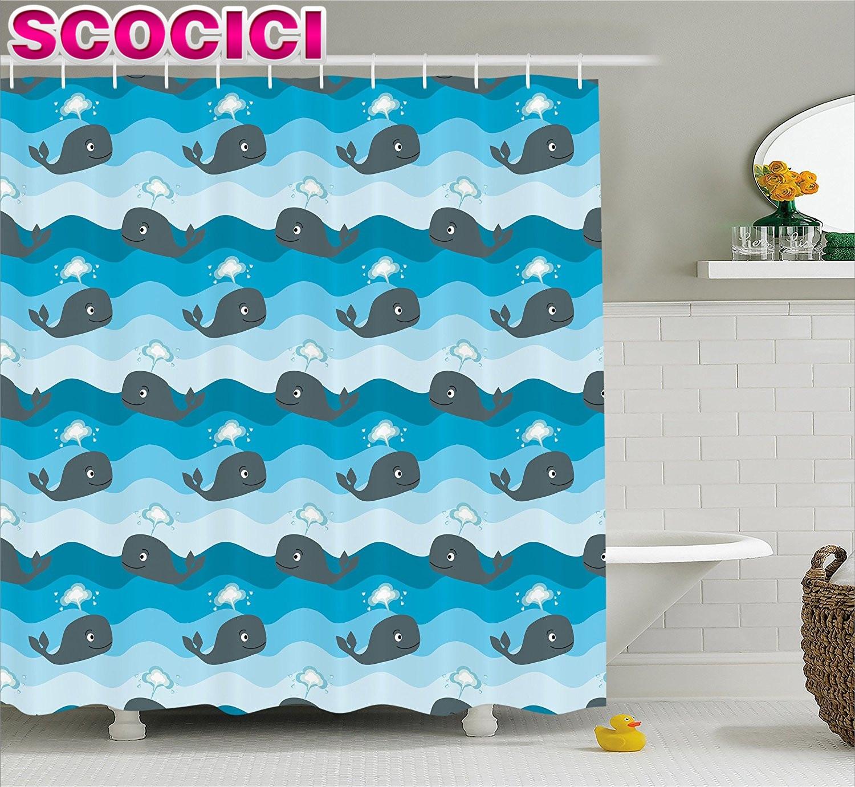 Whale shower curtain - Whale Decor Shower Curtain Cartoon Smiling Whales In A Row Swimming In Wavy Ocean Fabric Bathroom Decor Set Blue Light Blue Dark