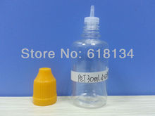 Wholesale Free shipping--30ml PET clear childproof cap bottle with tip for 2500pcs by FedEx shipping E-cigarette