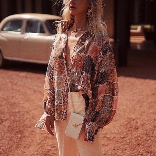 Boho Chic Top 2019 printemps femmes Vintage lanterne manches Plaid chemisiers en mousseline de soie chemise femmes haut imprimé Blusas