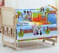 Promoção! 6 PCS Mickey Mouse cama de algodão, Meninos / meninas berço cama, Incluem ( bumpers folha + travesseiro )
