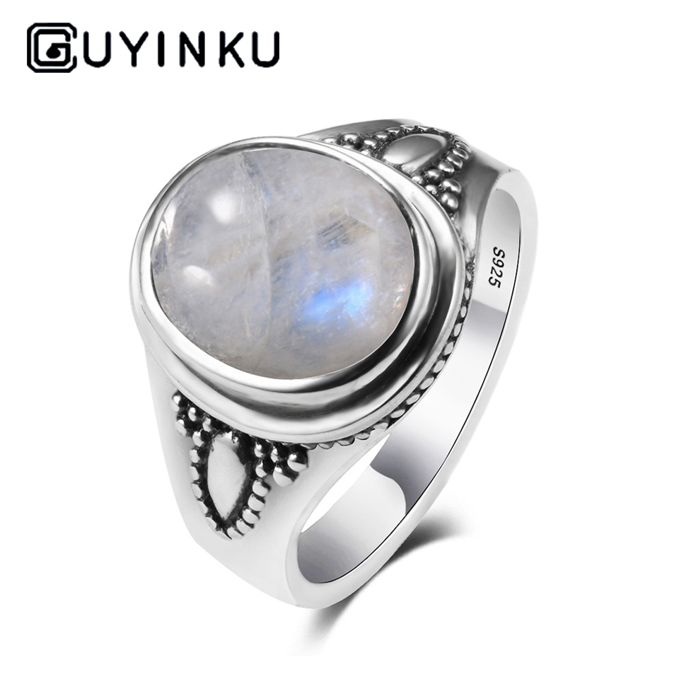 GUYINKU Real Pure 925 Sterling Silver Rainbow Natural Gemstone Rings For Women Men Vintage Fine Jewelry Hot Sale Party Ring Gift in Rings from Jewelry Accessories